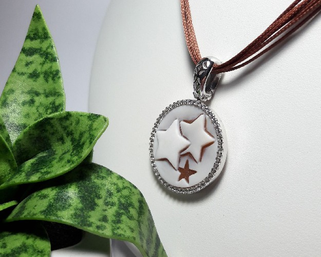 Silver Pendant with cameo star